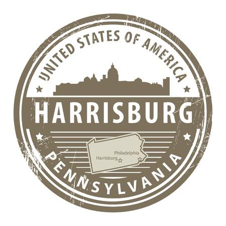 ペンシルベニア州ハリスバーグの名前とグランジ ゴム印