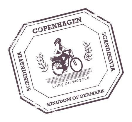 Grunge rubber stamp with word Copenhagen, Denmark inside Illustration