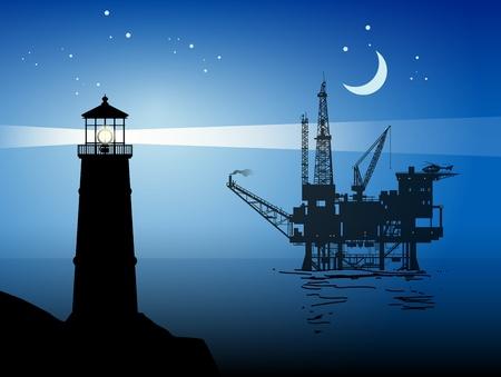 lighthouse at night: Faro y el mar de petr�leo Plataforma de perforaci�n Rig