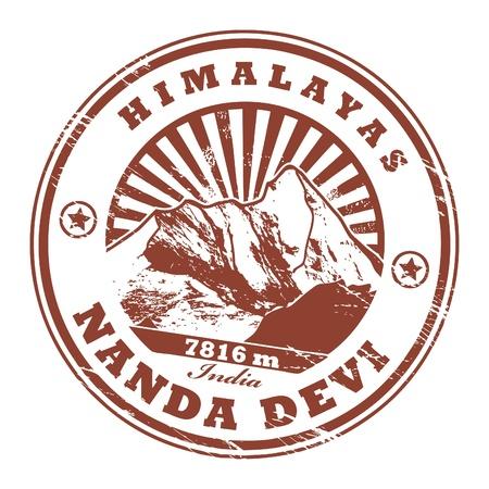 pico: Grunge sello de goma con la Devi Monte Nanda, segunda monta�a m�s alta de la India