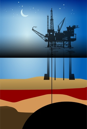 petroleum blue: Sea Oil Rig Drilling Platform