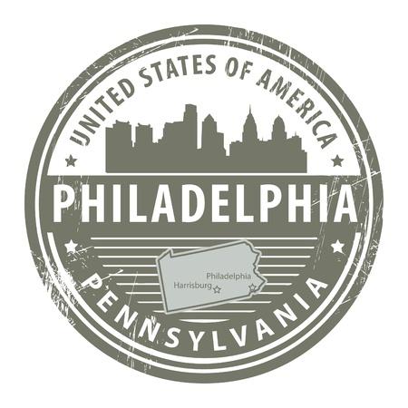 필라델피아: Grunge rubber stamp with name of Pennsylvania, Philadelphia