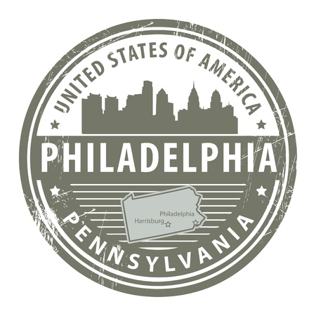 Grunge rubber stamp with name of Pennsylvania, Philadelphia