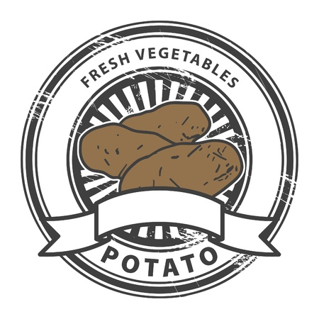 restaurant sign: Grungy rubber stamp with Potato shape and the words Potato, Fresh Vegetables written inside the stamp Illustration