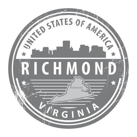 print shop: Grunge rubber stamp with name of Virginia, Richmond Illustration