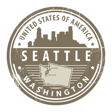 notificar: Grunge sello de goma con el nombre de Washington, Seattle