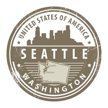 Tampon en caoutchouc grunge avec le nom de Washington, Seattle