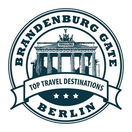 Stamp with Brandenburg gate and text Berlin Stock Vector - 14976084