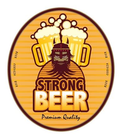 barra de cereal: Etiqueta con jarras de cerveza y la cerveza Strong texto escrito dentro