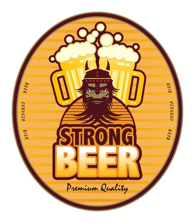 Label with beer mugs and the text Strong Beer written inside Illustration