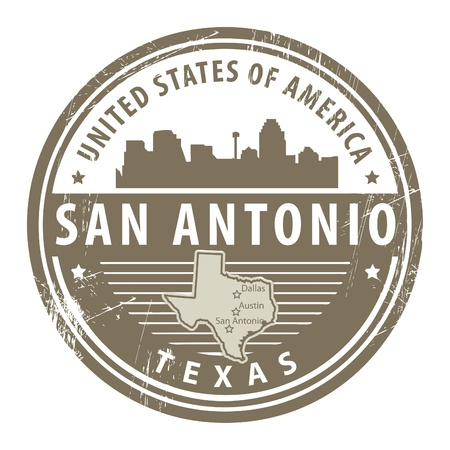 notificar: Grunge sello de goma con el nombre de Texas, San Antonio Vectores