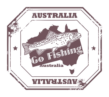 australia stamp: Grunge rubber stamp with fish shape and the text Australia, Go Fishing written inside