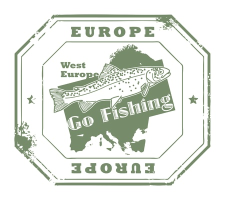 go inside: Grunge rubber stamp with fish shape and the text Europe, Go Fishing written inside Illustration