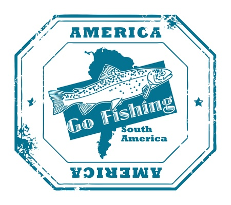 go inside: Grunge rubber stamp with fish shape and the text America, Go Fishing written inside
