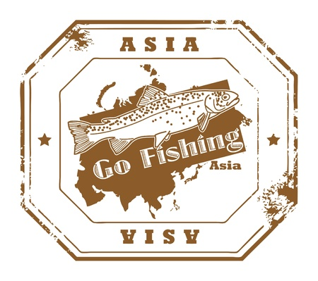 go inside: Grunge rubber stamp with fish shape and the text Asia, Go Fishing written inside