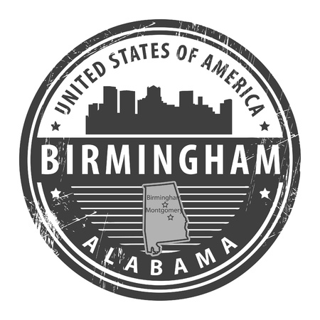 birmingham: Grunge rubber stamp with name of Alabama, Birmingham