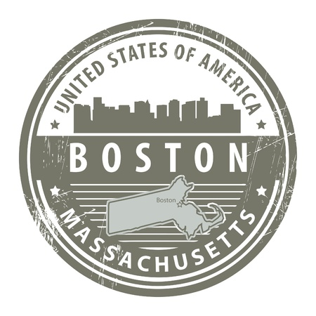 boston: Grunge rubber stamp with name of Massachusetts, Boston