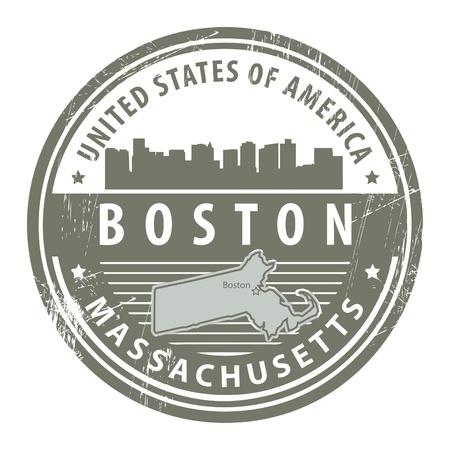 boston skyline: Grunge rubber stamp with name of Massachusetts, Boston