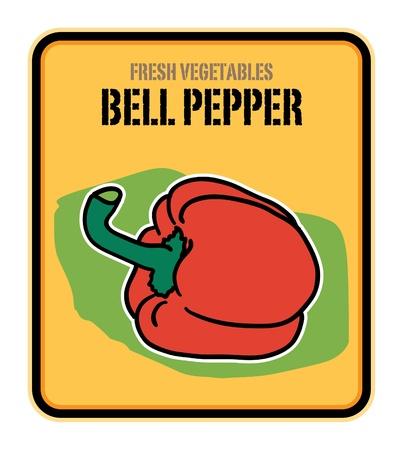 bell pepper: Vegetables label, Bell pepper Illustration