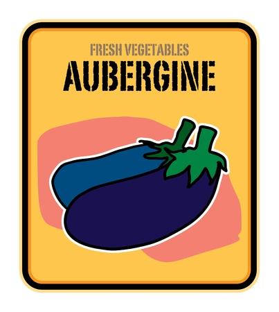 aubergine: Vegetables label, Aubergine