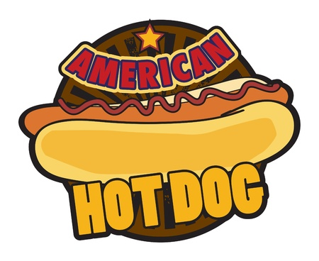 hotdog: Label American Hot Dog