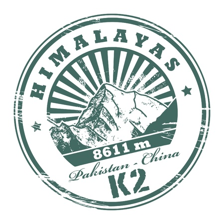 himalaya: Grunge rubber stamp with the Mount K2, second-highest mountain on Earth Illustration