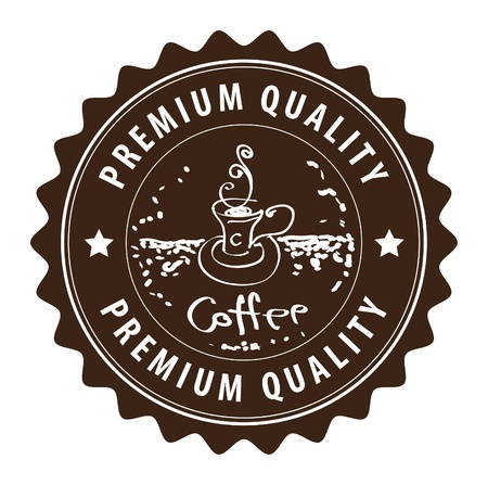 coffee beans isolated: Brown grunge label with coffee cup and the text coffee, premium quality written inside Illustration