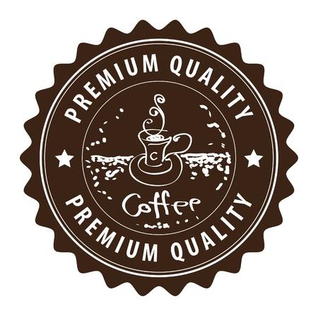 chicchi di caff�: Grunge label marrone con tazza di caff� e il caff� di testo, di qualit� premium scritto dentro Vettoriali