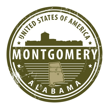 montgomery: Grunge rubber stamp with name of Alabama, Montgomery Illustration