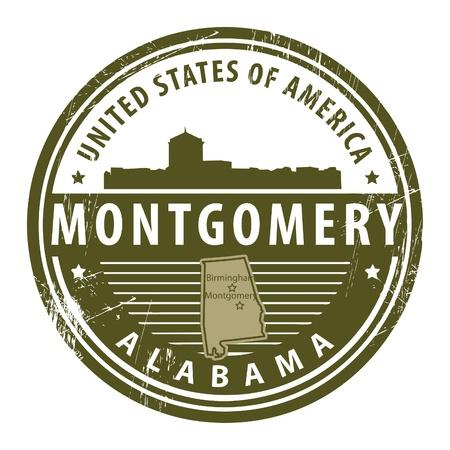 alabama: Grunge rubber stamp with name of Alabama, Montgomery Illustration