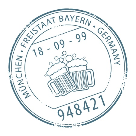 postal office: Grunge rubber stamp with the name of Munchen, Germany written inside the stamp Illustration