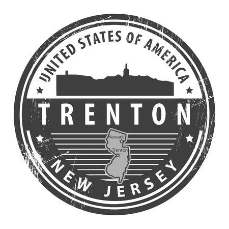 new jersey: Grunge rubber stamp with name of New Jersey, Trenton Illustration