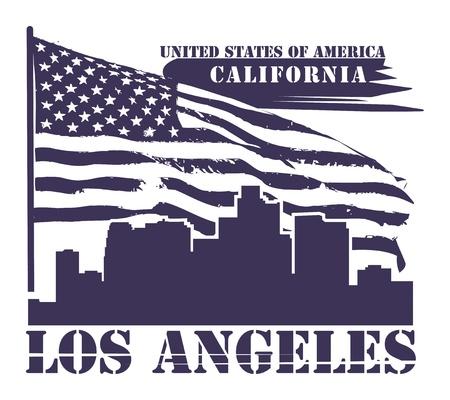 Grunge etiket met de naam van Californië, Los Angeles Vector Illustratie