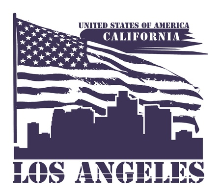 Grunge label with name of California, Los Angeles Vector