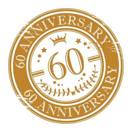 Stamp 60 anniversary Stock Vector - 15271271