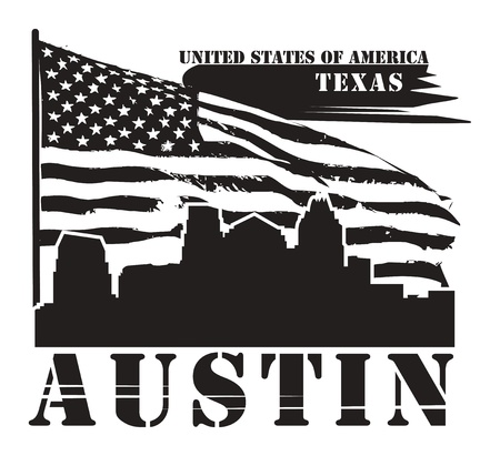 austin: Grunge label with name of Texas, Austin Illustration