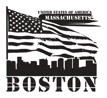 Grunge label with name of Massachusetts, Boston Vector