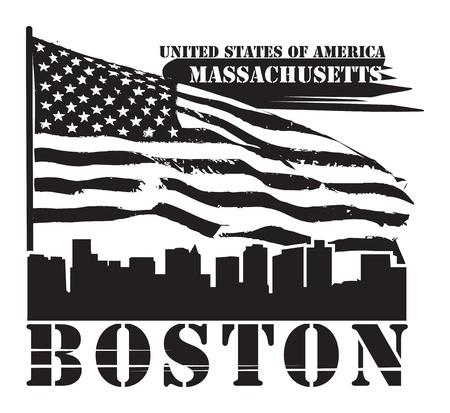 boston: Grunge label with name of Massachusetts, Boston
