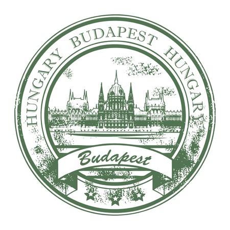 macar: Grunge lastik Parlamento binası ile damga ve kelimeler Budapeşte, Macaristan içeride