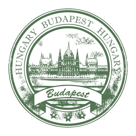 hungarian: Grunge rubber stamp with Parliament building and the words Budapest, Hungary inside
