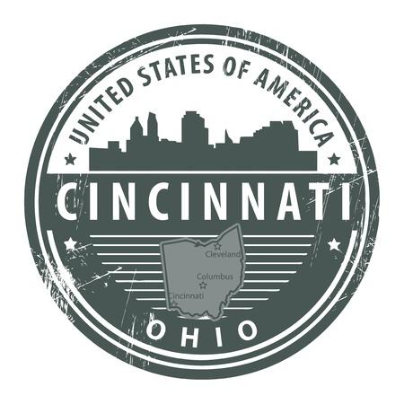 ohio: Grunge rubber stamp with name of Ohio, Cincinnati