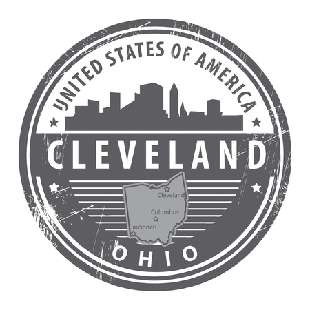 Grunge rubber stamp with name of Ohio, Cleveland