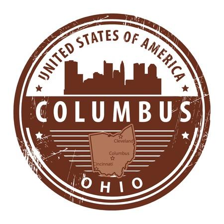 columbus: Grunge sello de goma con el nombre de Ohio, Columbus Vectores