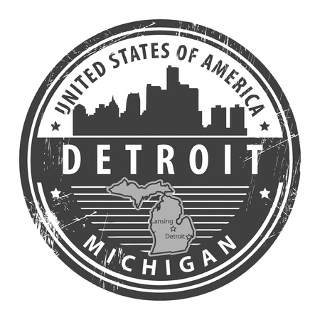 michigan: Grunge rubber stamp with name of Michigan, Detroit Illustration