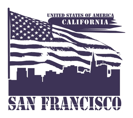 american vintage: Grunge label with name of California, San Francisco Illustration