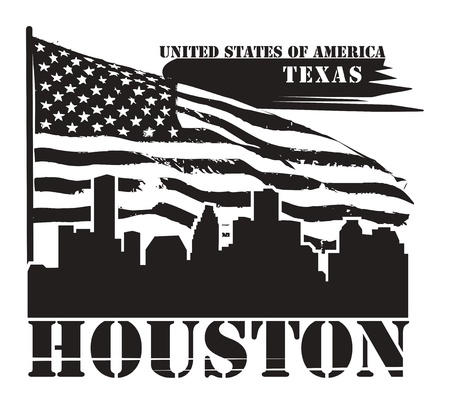 Grunge label with name of Texas, Houston Vector