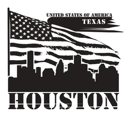 houston flag: Grunge label with name of Texas, Houston Illustration