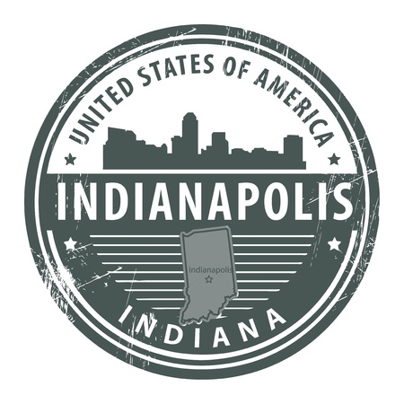indiana: Grunge rubber stamp with name of Indiana, Indianapolis Illustration