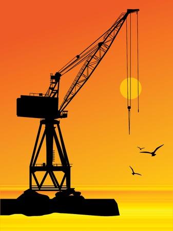 Silhouette of the port crane