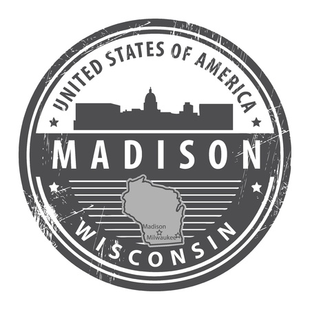 Grunge rubber stamp with name of Wisconsin, Madison Vector